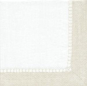 Caspari Napkins - Linen Natural 3ply 40cm disposable paper dinner napkin, 20 per pack.