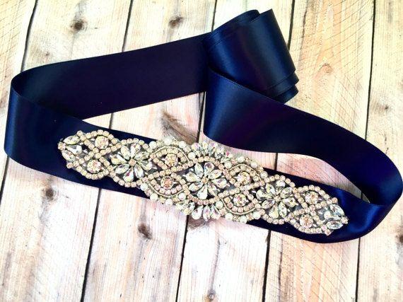 Marina sposa sash damigelle Sash Navy nuziale sash