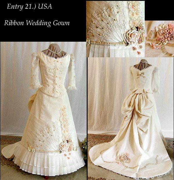 Victorian wedding pictures victorian dress bustle for Victorian bustle wedding dress