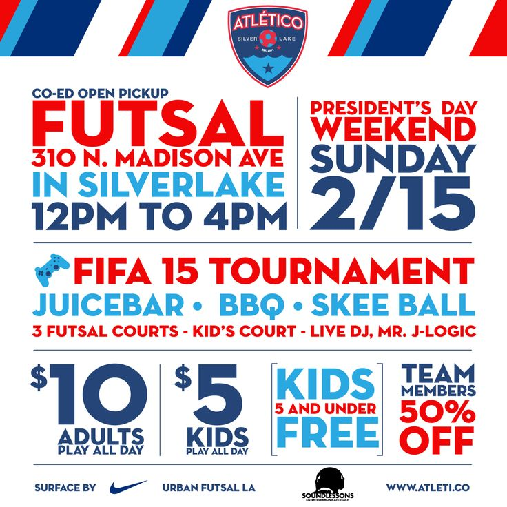 Come join us this Sunday for an afternoon of family fun and some indoor soccer at UrbanFutsal LA, near Beverly and Vermont.   Indoor soccer for ALL ages!  -with sounds by:  Mr. J-Logic   -BBQ, healthy juices & drinks  -Play all day - $5 kids, $10 Adults, Kids under 5 FREE.    -Adult+Kids Futsal Tournaments  FIFA 15 PS4 tournaments Prizes! Skeeball! Bouncy House! PhotoBooth   #Futsal #Soccer #Family #Fun #BBQ #nike #daytime #sports #kids #FREE #Silverlake #Juice #FIFA15 #PS4 #indoorSoccer…
