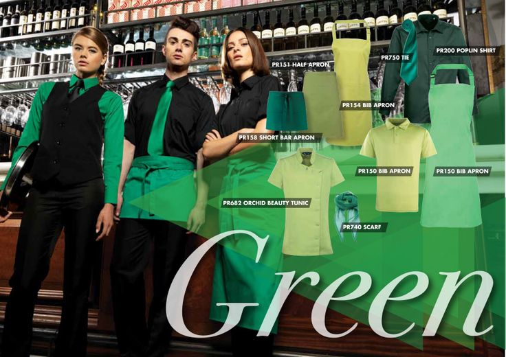 This board show you how to use shades of green from the Premier range to complement your brand using staff uniforms.