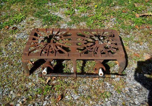 Antique Griswold 32 Cast Iron Two Burner Table Top Gas Stove Porcelain Handles Tops Gas