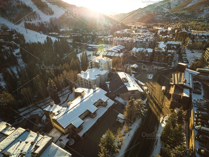 [Aerial] Vail Village by Andrew Schubert Visuals on @creativemarket