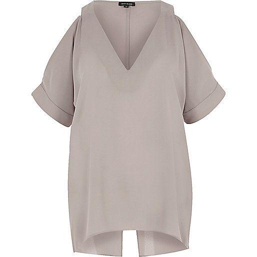 Grey cold shoulder split back top - bardot / cold shoulder tops - tops - women