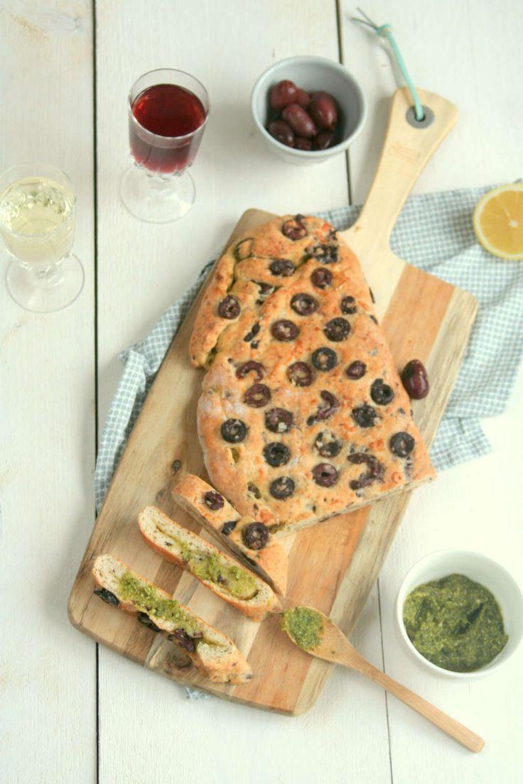 pestobrood met olijven