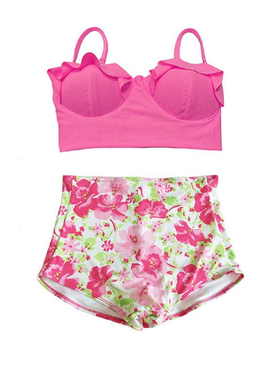 Pink Midkini Top and Flora High Waist Waisted by venderstore, $39.99