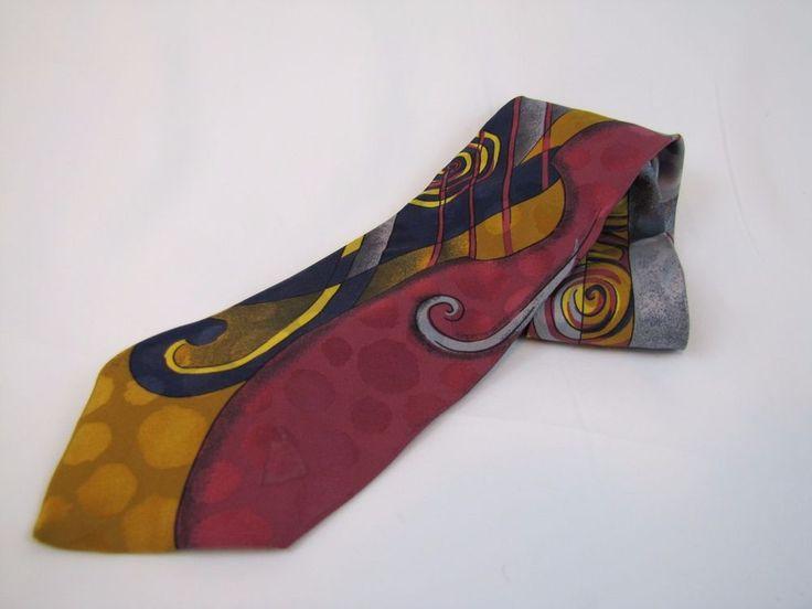 GIANNI VERSACE Necktie Made in Spain 3.5 inches Art Deco Industrial Design Tie #GianniVersace #Tie