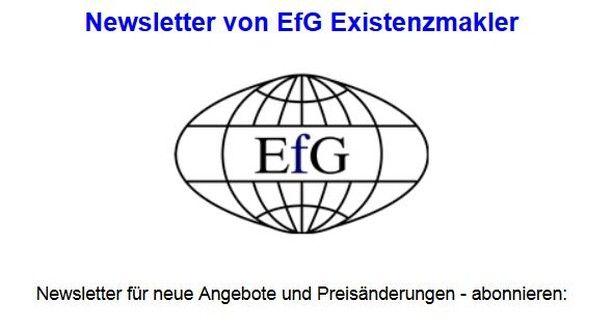 EfG Existenzmakler - Newsletter für neue Immobilienangebote und Erneuerbare Energieanlagen abonnieren.http://ift.tt/2s73S9O