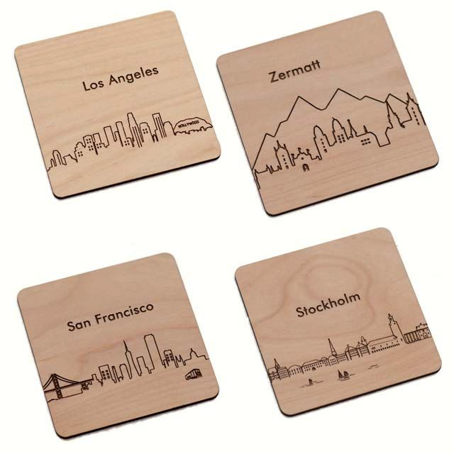 Your Choice 4 City Coasters - Laser cut and Etched on Wood                                                                                                                                                                                 More