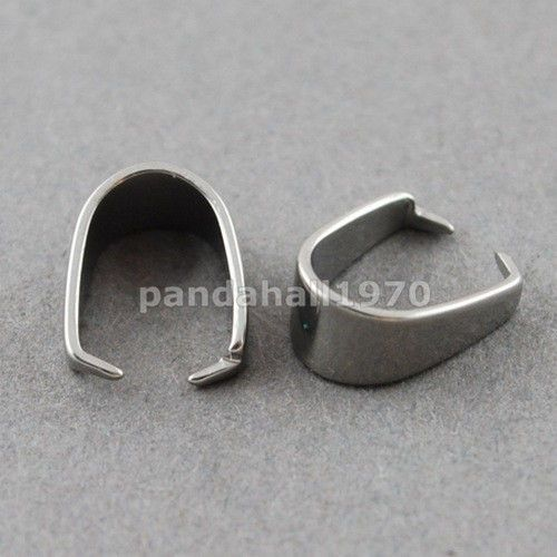 50 pcs Jewelry Findings 304 Stainless Steel Pinch Bails for DIY Making 9x7x4mm…