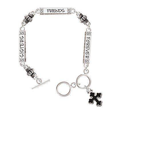 Small Black Enamel Botonee Cross  Forever Sisters Bar Connector Bracelet -- Click image to review more details. (This is an affiliate link and I receive a commission for the sales)