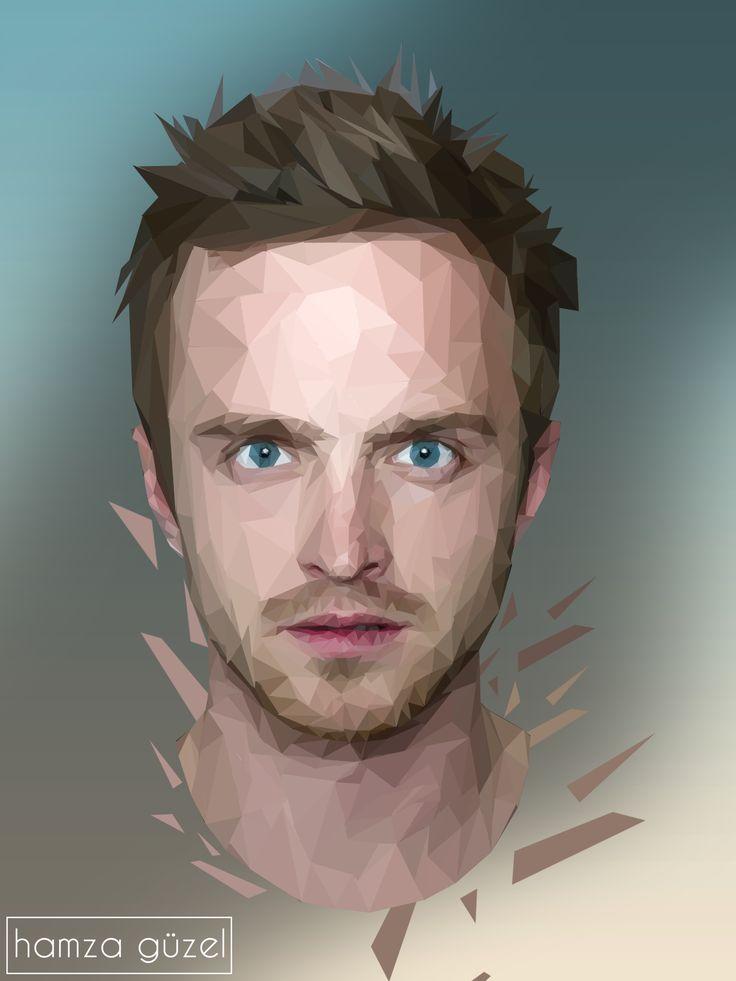 Jesse Pinkman | LowPolyART  Behance'ta görüntüleyin : behance.net/gallery/38703423/Jesse-Pinkman-Low-Poly   #breakingbad #amc #jessepinkman #aaronpaul #lowpoly #polygon #brbad #agackakanfani #hamzaguzel