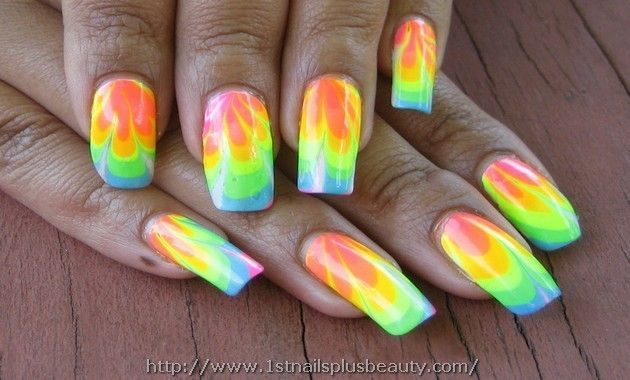 Marble Nail Art With Water Picture