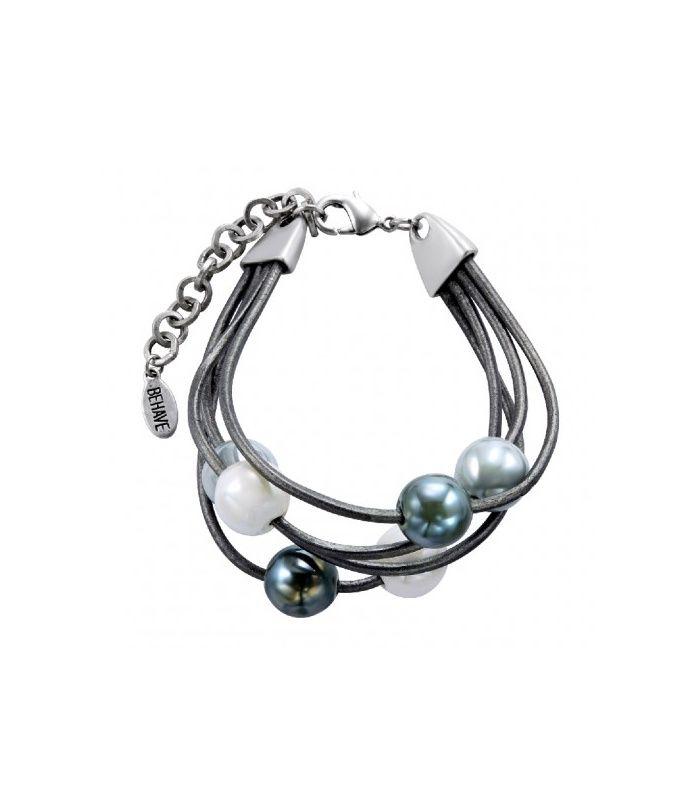 Grijs met wit leder armband|Mooie armbanden koop je online | Behave sieraden