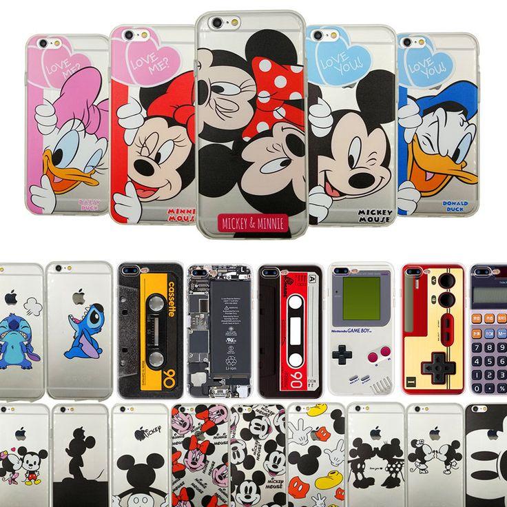 Beso de dibujos animados de Mickey Minnie Mouse Donald Pato Suave TPU de Silicona Caso Claro Coque Para Apple iPhone 6 6 s 6 Más 5 5S Sí 7 Casos cubierta