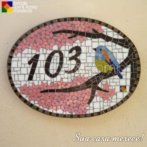 """Mosaicos J&R: Na casa do cliente #12 - """"Numeral em mosaico - Pássaro na Cerejeira""""                                                                                                                                                      Mais"""