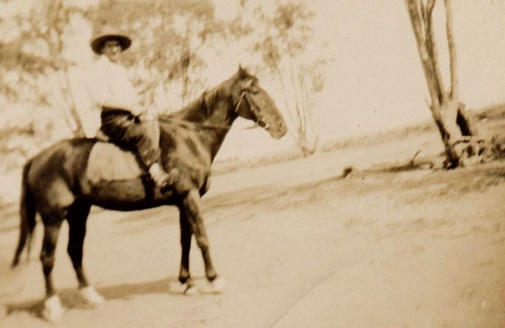 Eric Williams on horse, most likely Dubbo as grandfather Pike at Lisarow had a pony. Eric use to stay during the school holidays with his father Bill on the country property he was working on at the time, as a painter or wool classer.