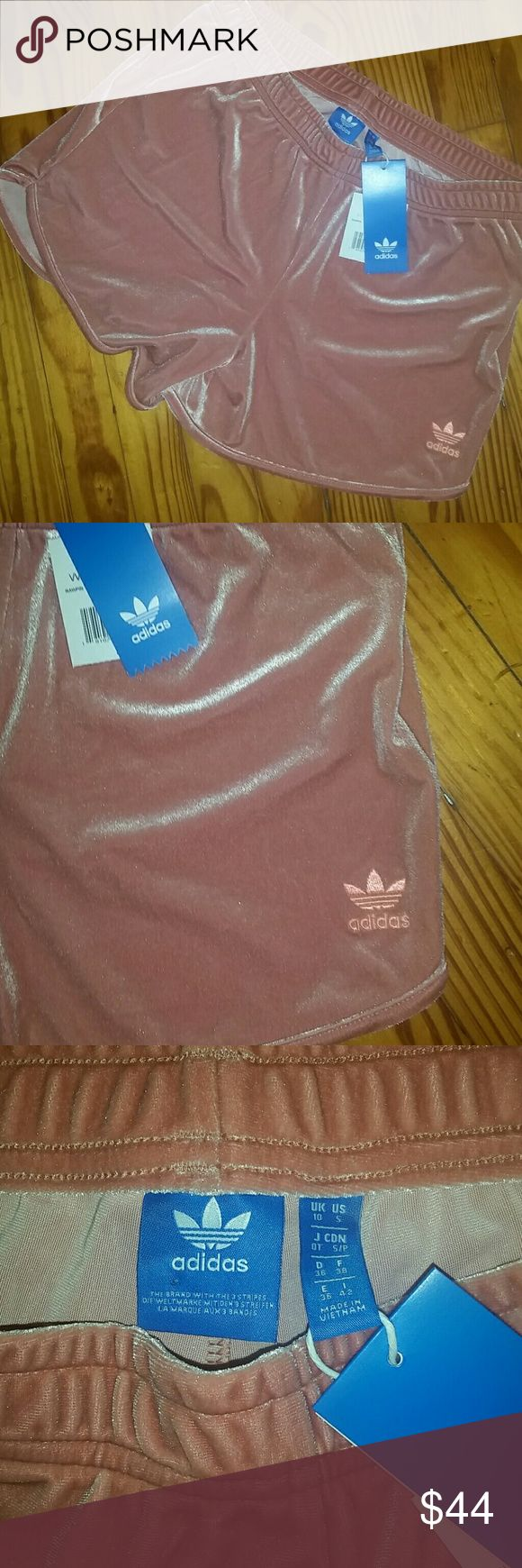 adidas.  Soft  velour shorts rose pink Soft velour pink shorts size small that fits more like a medium adidas Shorts
