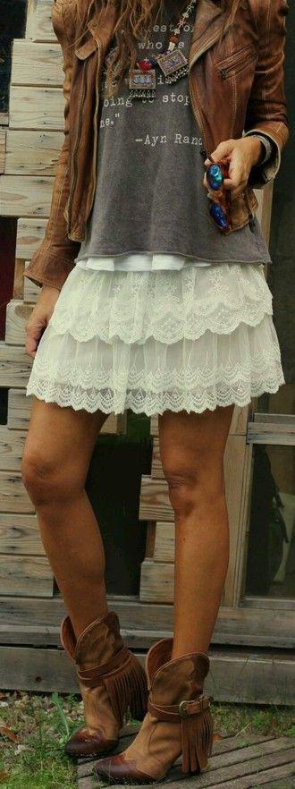 skirt shoes boho boots cowboy boots jacket t-shirt country bohemian fashion chic white skirt mini skirt leather jacket lace skirt