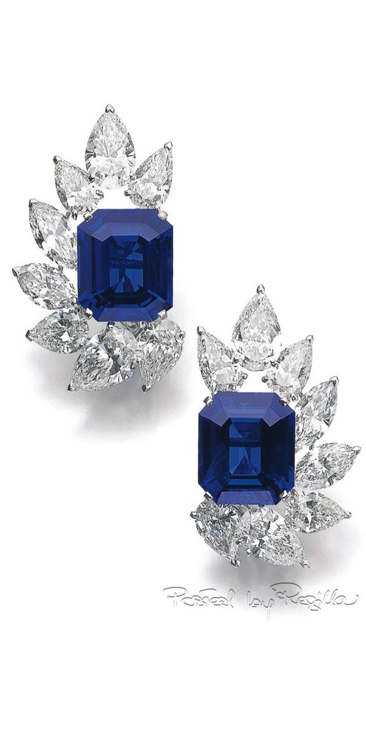 Regilla ⚜ sapphire and diamond ear clips, Cartier
