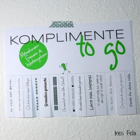 Ines Felix - Kreatives zum Nachmachen: Komplimente für die lieben Kollegen - Motivation zum Montag
