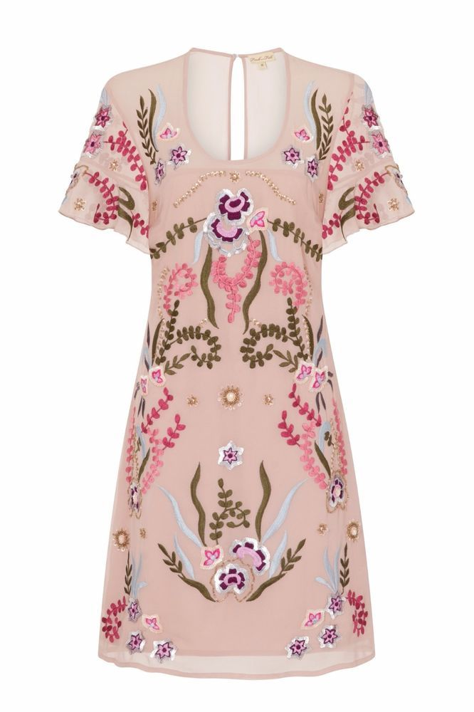 Pink Sheer Embroidered Chiffon Special Occasion Dress