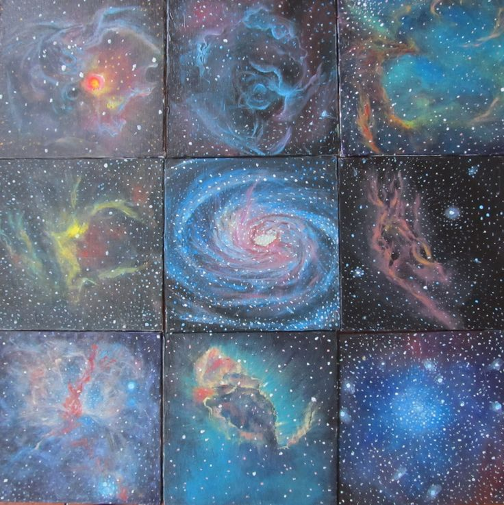 """Eight Nebulae and a Galaxy  Acrylic on 9 canvas panels, 8""""x8"""" each  September 2011  http://alizeykhan.com  #art #painting #space #astronomy"""