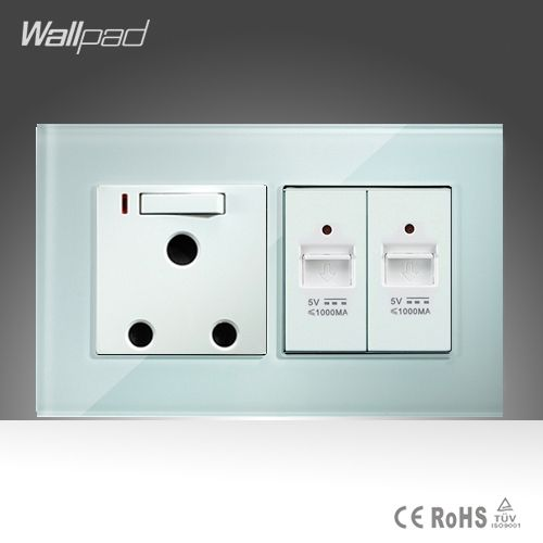 45.00$  Watch here - http://alihnd.worldwells.pw/go.php?t=32677477319 - 15A 16A South Africa Socket and Double UBS Socket Wallpad 146*86mm White Glass 2 USB Ports and 16A SA Switched Socket with LED