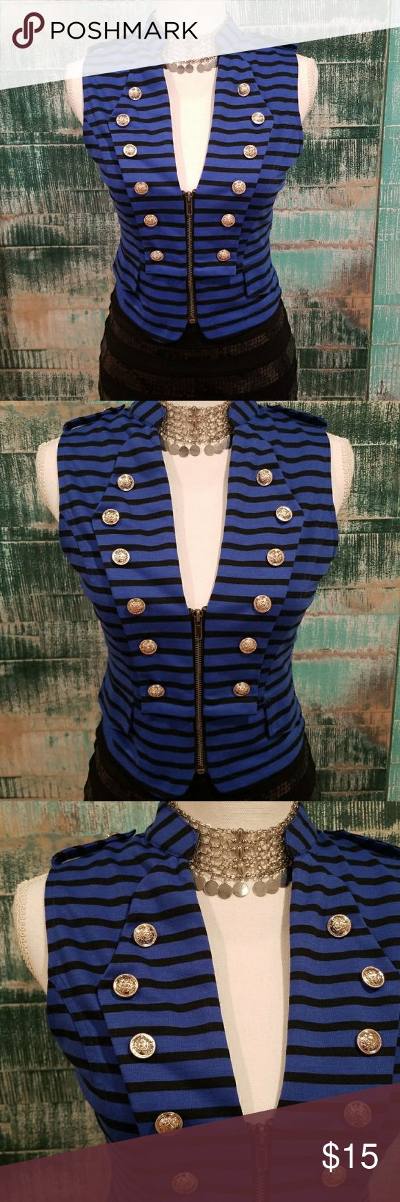 NWOT Forever 21 Striped Zip Vest Medium Exquisite details in this very well made vest! Never worn! Pictured here with Express Sequin Mini Skirt which is not includes but available in another listing. Bundle and save! Forever 21 Tops