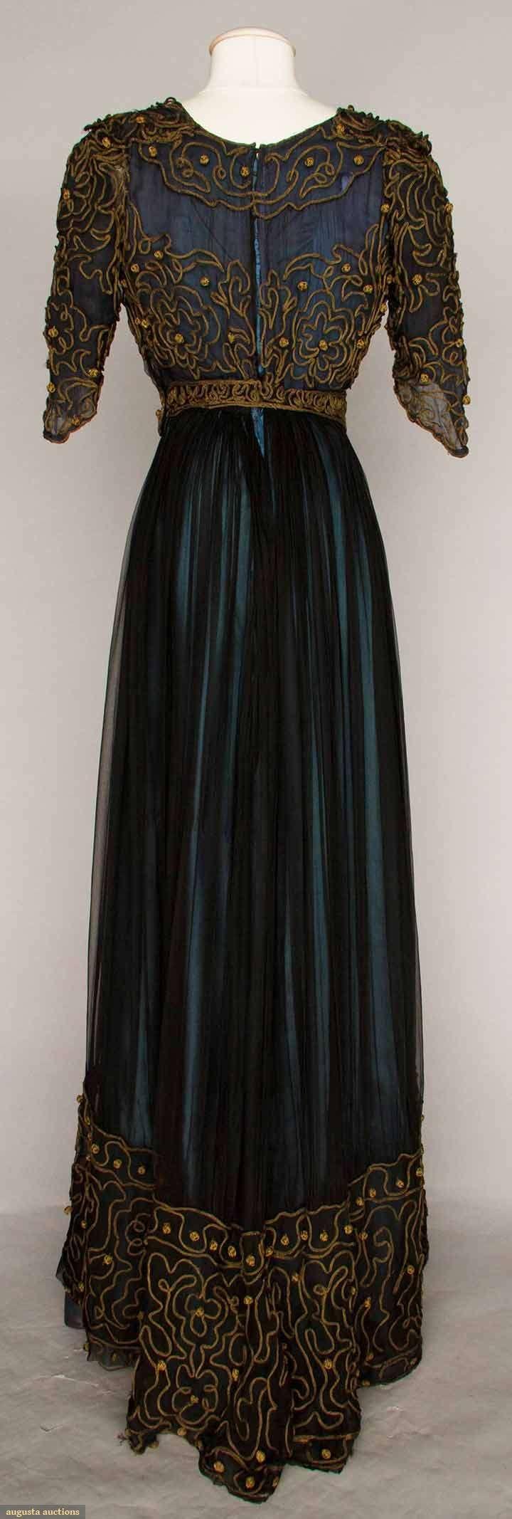 Afternoon Dress (image 2) | 1910 | silk chiffon, soutache | Augusta Auctions | May 10, 2016/Lot 1008