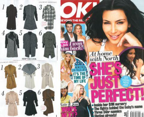 Our Power Cuff Coat and Greta Coat featured in OK! Magazine Australia (Issue 363).