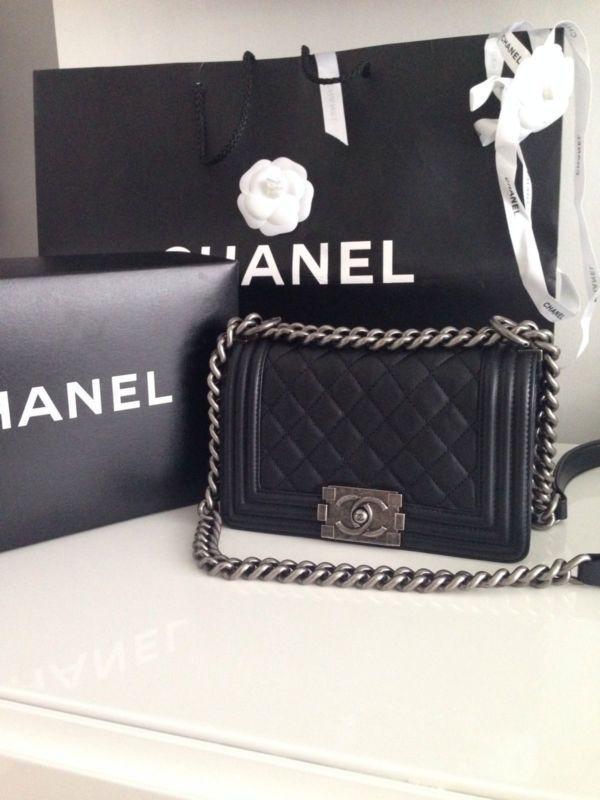 d6ad8b9c623b Authentic Chanel Le Boy Bag Small Black Lambskin Silver Hardware | eBay  #smallblackbag