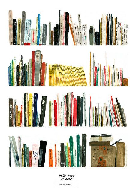 books in watercolor.  Yellow books (national geographic) in the middle!