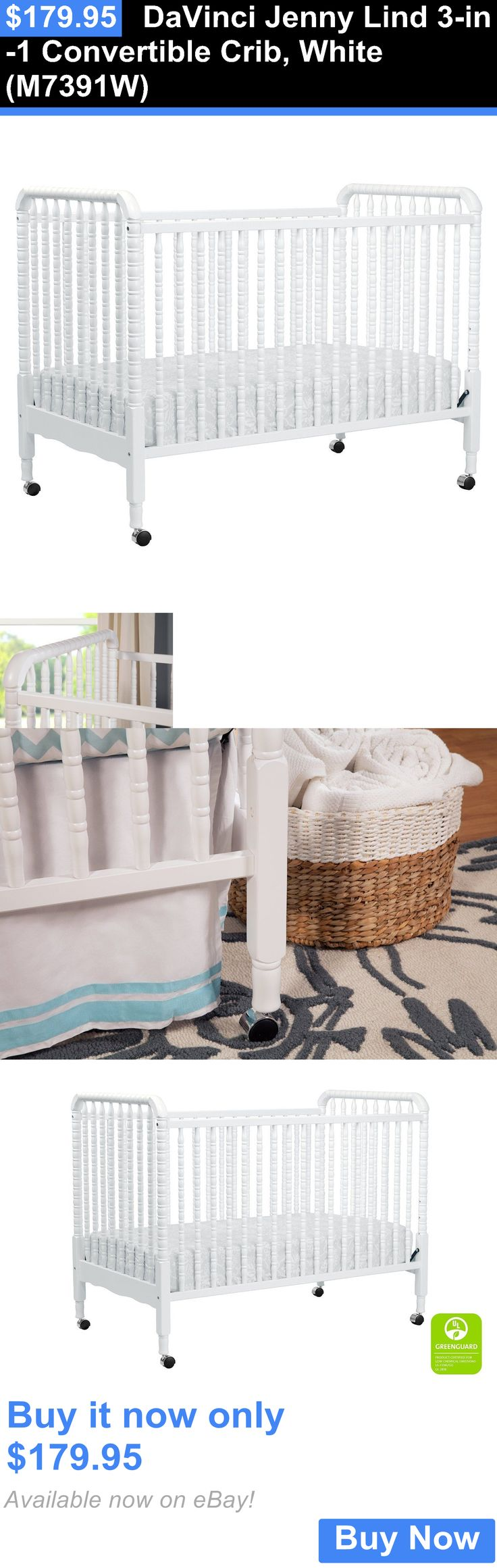 Baby Nursery: Davinci Jenny Lind 3-In-1 Convertible Crib, White (M7391w) BUY IT NOW ONLY: $179.95