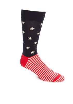 Happy Socks BlueRedWhite Big  Tall American Flag Print Combed Cotton Crew Socks- Single Pair