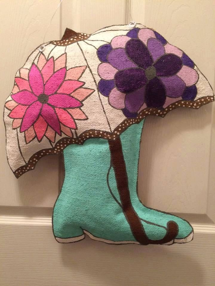 Umbrella and Rain Boots Burlap Door Hanger, Umbrella, Rain Boots, Door Sign, Spring, Door Decor, Painted Burlap, Personalized by HomemadeMamaBurlap on Etsy
