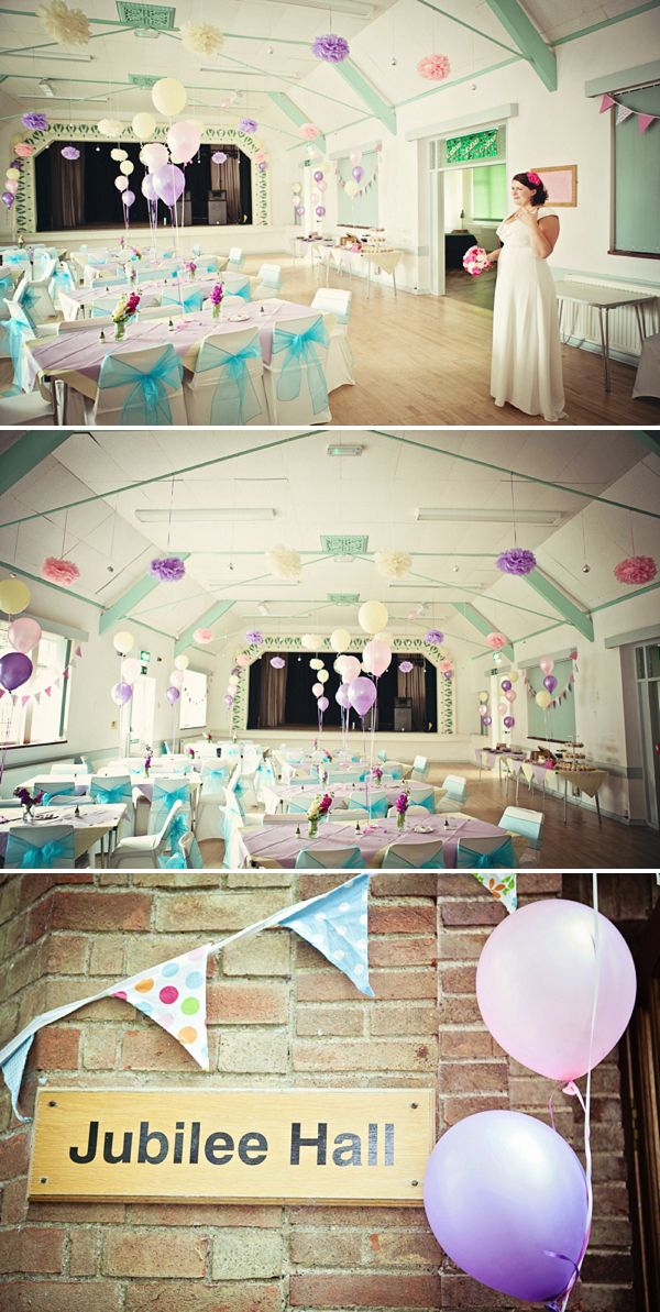 pastel village hall wedding decor