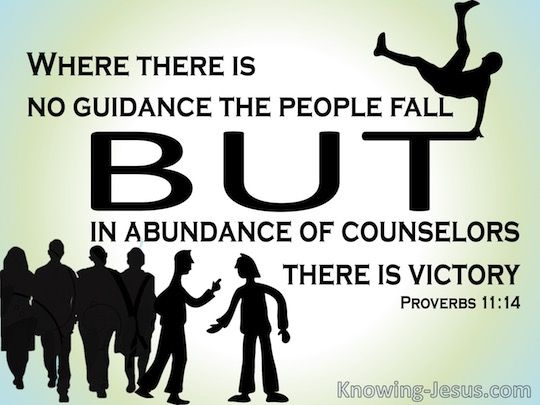 Where there is no guidance the people fall, But in abundance of counselors there is victory.  -   Proverbs 11:14