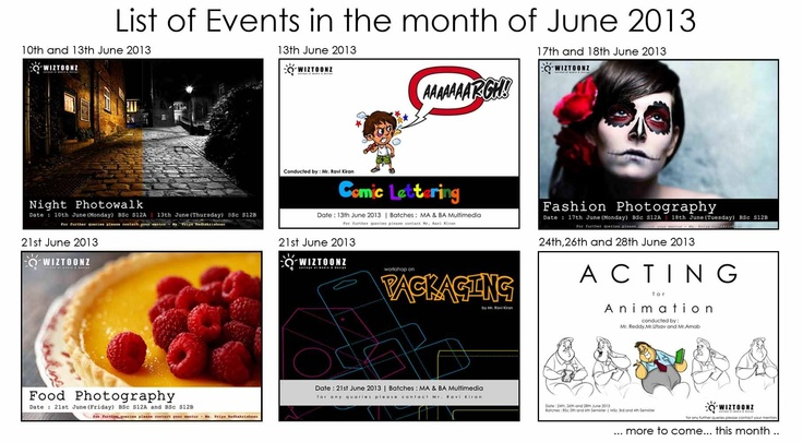 List of Events for the Month of June 2013.