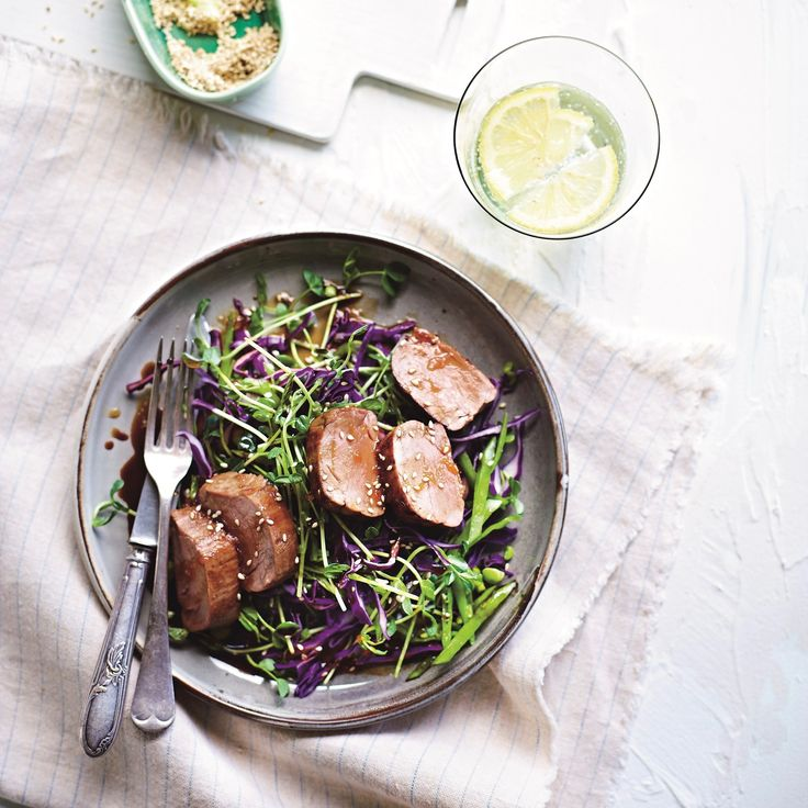 "HONEY-GLAZED PORK WITH SNOW PEA, CABBAGE AND SPROUT SLAW BY CHRISSY FREER. ""Snow peas, like all peas, are one of the best vegetable sources of dietary fibre. They are also packed with vitamin C, vitamin B3 (niacin), folate and potassium"" says Chrissy. 30 Minutes. Gluten Free. Dairy Free."