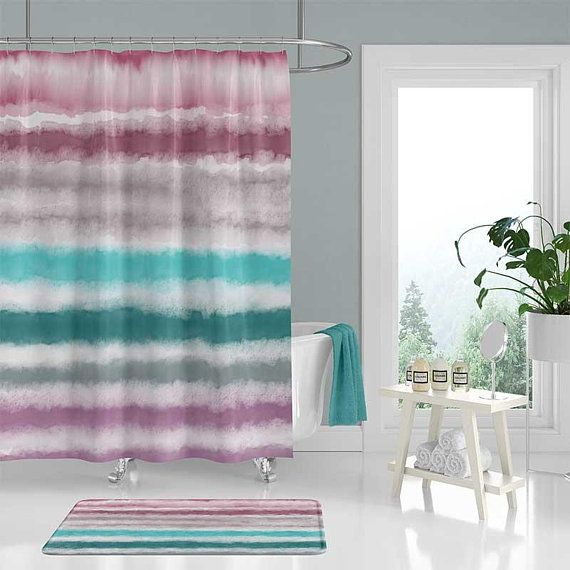 Watercolor Shower Curtain And Bath Mat Set Purple Mauve Teal Blue