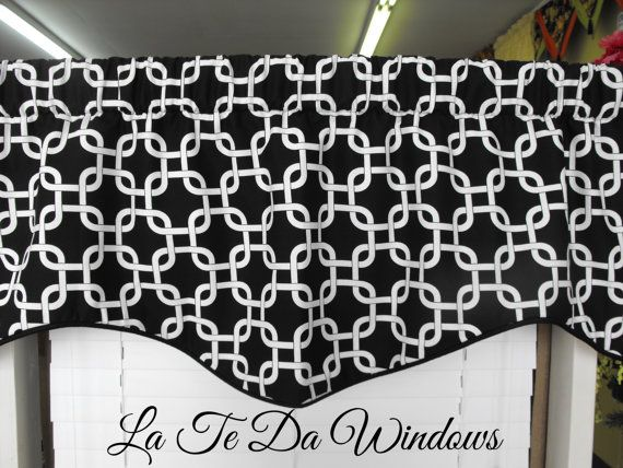 Window treatment Valance black and white by LaTeDaWindows on Etsy, $44.00