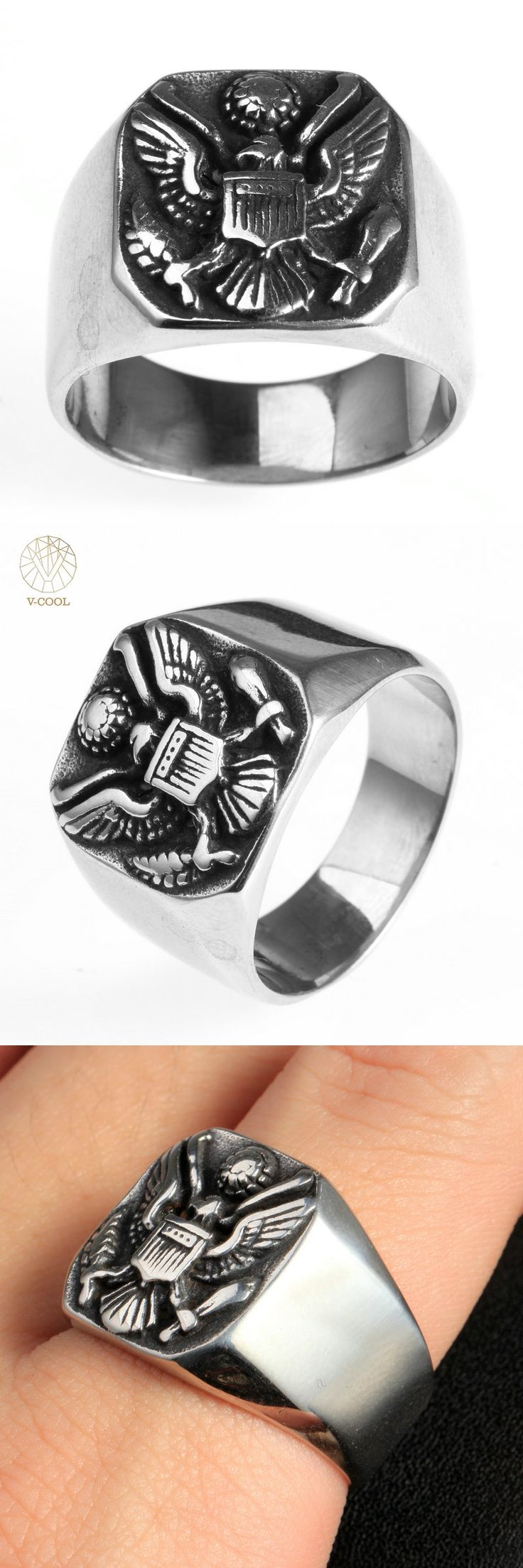 VCOOL Vintage Eagle Ring With A Coat Of Arms Of The Russian Stainless Steel Man High Quality Jewelry Ring Russian Style VR081
