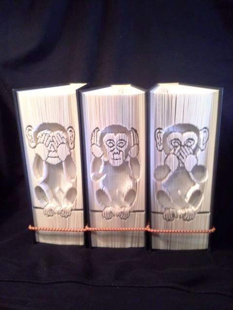 3 Wise Monkeys Book Folding Patterns (set of 3 cut and fold) Each pattern consists of 449 pages and 23 cm book height