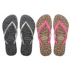 De @havaianas Slim Animals #slippers voor dames zijn voorzien van een dierenprint op de zool en contrasterend bandje.