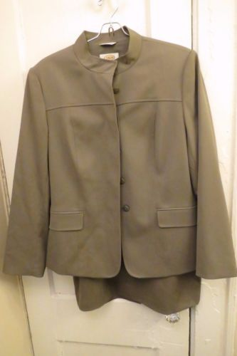 Talbots Suit Skirt Blazer Jacket Gray Wool 10 12 Work Career Long Sleeve Grey