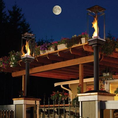 As an alternative to a traditional Tiki torch, consider a modernized version with electronic ignition for lighting your outdoor space.