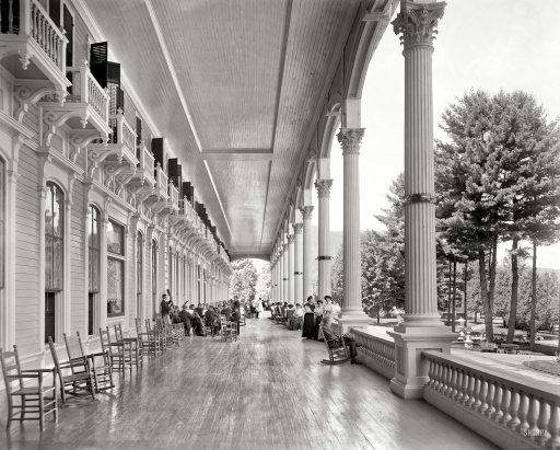 """Can you imagine? Lake George, New York, circa 1908. """"Grand piazza, Fort William Henry Hotel."""" 8x10 inch dry plate glass negative, Detroit Publishing Company"""