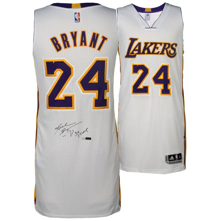Kobe Bryant Los Angeles Lakers Autographed White Authentic Jersey with 5X Champ Inscription - Limited Edition of 124 - Panini