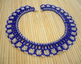 royal blue-silver crystal beadwork netted necklace, seed bead collar necklace, blue seed bead statement necklace, seed bead choker necklace